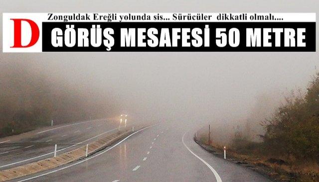 Zonguldak Ereğli yolunda sis