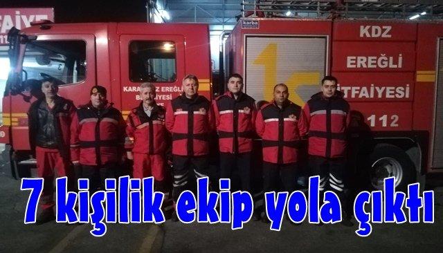 Ereğli Beldiyesi'nden Elazığ'a kurtarma ekibi