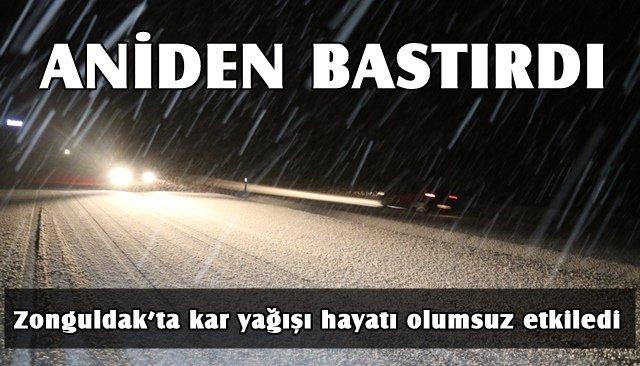 Zonguldak'ta kar yağışı hayatı olumsuz etkiledi