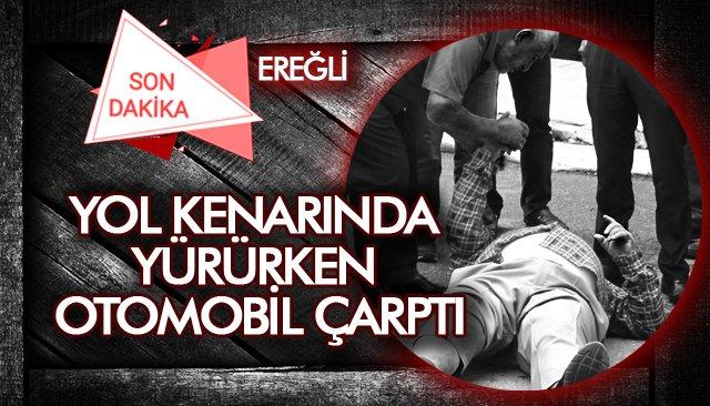 YOL KENARINDA  OTOMOBİL ÇARPTI