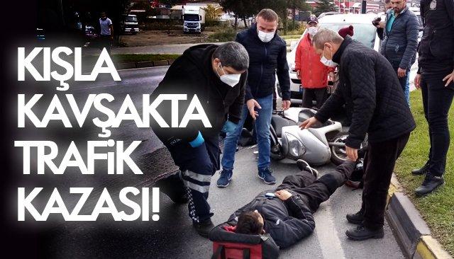 KIŞLA KAVŞAKTA TRAFİK KAZASI!