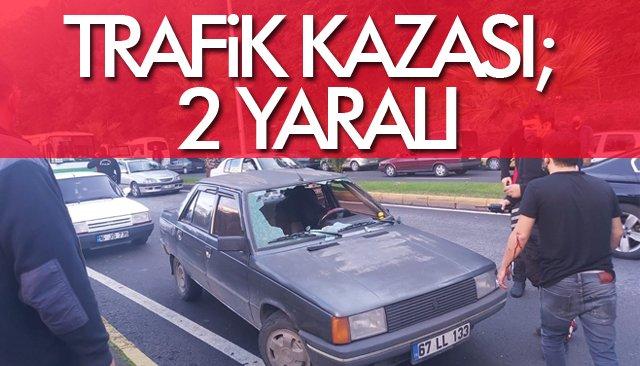 TRAFİK KAZASI; 2 YARALI