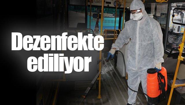 Halk otobüsleri virüse karşı dezenfekte ediliyor