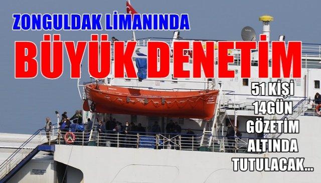 Ukrayna´dan gelen gemideki 51 kişi gözlem altına alındı