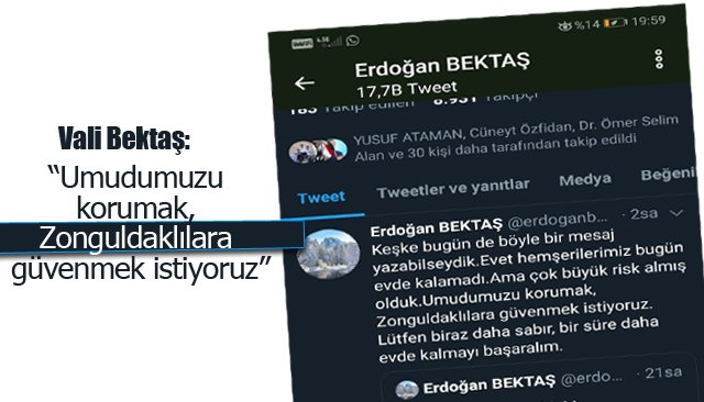 """Vali Bektaş, """"Umudumuzu korumak, Zonguldaklılara güvenmek istiyoruz"""""""