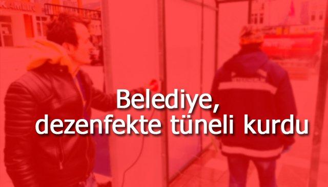 Belediye, dezenfekte tüneli kurdu