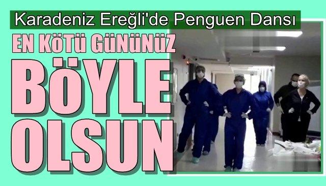 Koronavirüsten iyileşen hastaları penguen dansı ile uğurladılar
