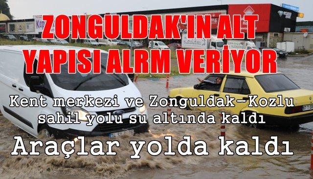 Kuvvetli yağış, Zonguldak'ta hayatı olumsuz etkiledi...