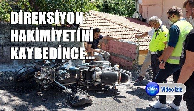 MOTOSİKLET DEVRİLDİ...