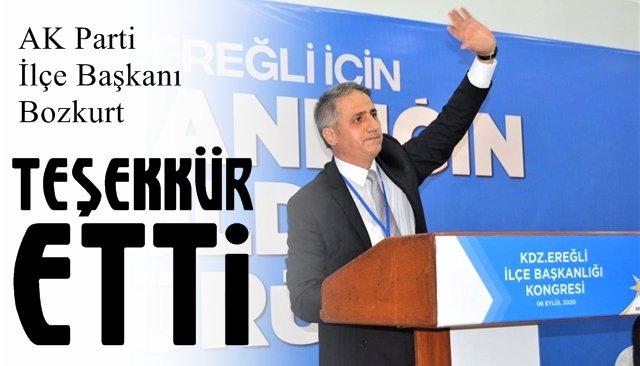 AK Parti İlçe Başkanı Bozkurt teşekkür etti