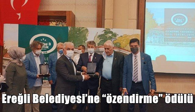 """Ereğli Belediyesi'ne """"özendirme"""" ödülü"""
