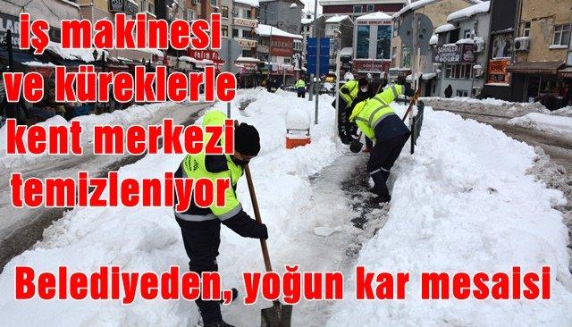 Belediyeden, yoğun kar mesaisi