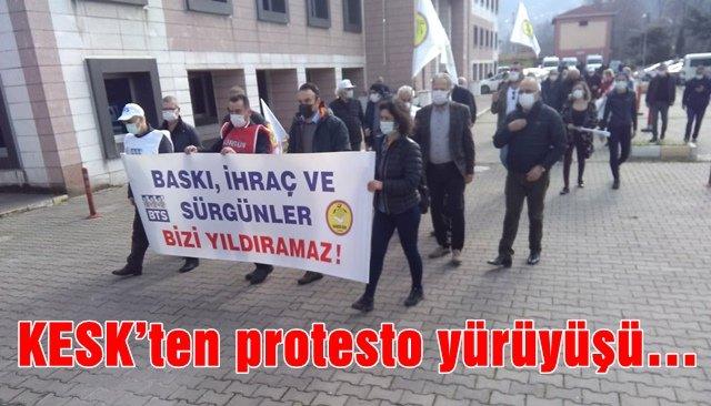 KESK'ten protesto yürüyüşü…