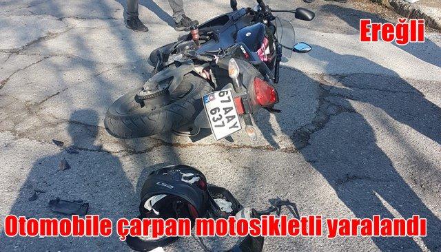 Otomobile çarpan motosikletli yaralandı