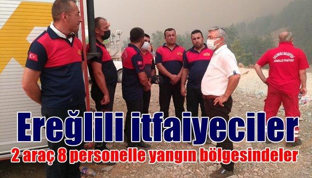 Ereğlili itfaiyeciler Manavgat'ta yangın bölgesinde