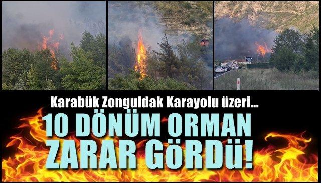 Karabük-Zonguldak karayolu… 10 DÖNÜM ORMAN ZARAR GÖRDÜ